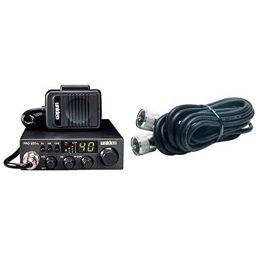 Uniden PRO520XL Pro Series 40-Channel CB Radio - Black & RoadPro RP-18CC Black 18' CB Antenna Coax Cable with PL-259 Connector