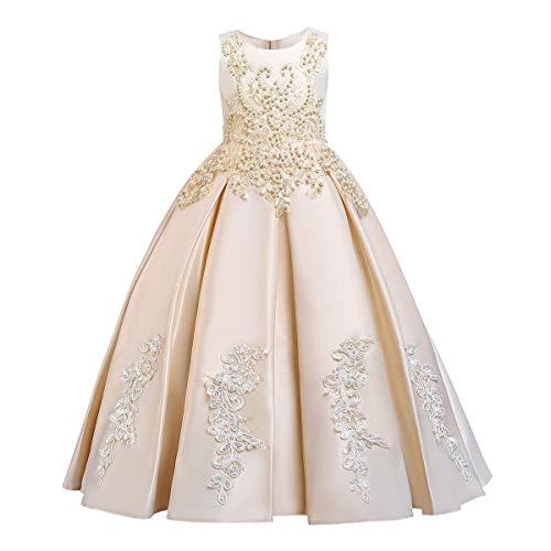 FYMNSI - Vestido largo de noche para nia, con hombros descubiertos, de tul, para bodas, para dama de honor, de fiesta, para primera comunin, de 5 a 14 aos 4# Champn. 4-5 Aos