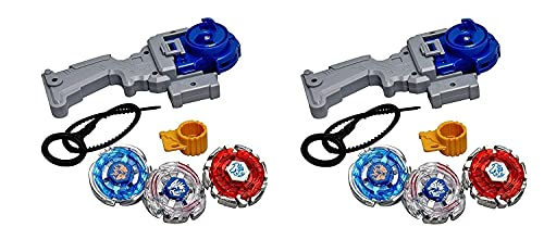 Beyblade 4D 6 in 2 Beyblades Metal Fighter Fury with Fight Ring and Handle Launcher (Multicolor)