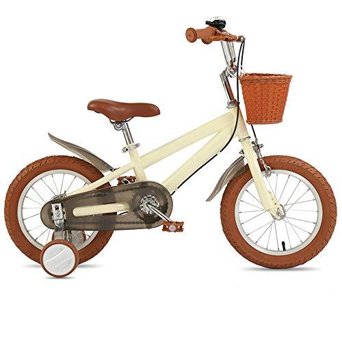 Kids Bikes Vélo Enfants Garçon 14 16 18 Pouces avec Roues D'entraînement Frein en V Fille Princesse 3 4 7 Ans Ajustable Bicyclette Enfant Couleur Multiple avec Panier(Size:14 Pouces,Color:Jaune)