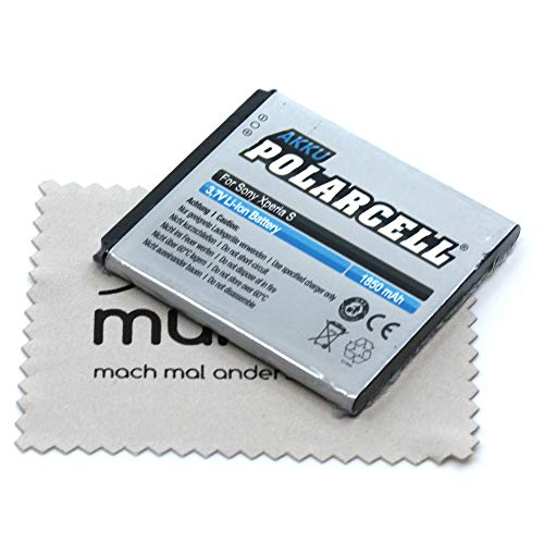 Batería de repuesto para Sony Xperia V (sustituye a batería original BA800) Polarcell con paño de limpieza de pantalla Mungoo