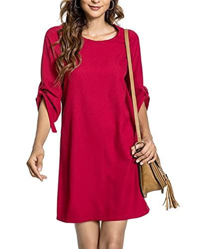 CMTOP Vestido Casual para Mujer Verano Color Sólido Falda Larga de Playa Fiesta Manga Corta con Cuello Redondo Tops(Vino Rojo,L)