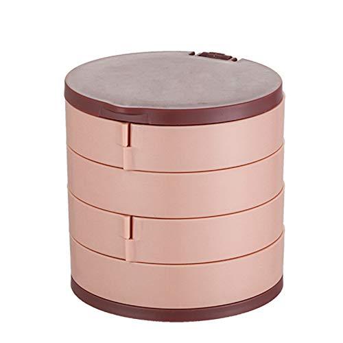 Goutui Caja de almacenamiento de joyería giratoria multicapa para pendientes, caja de cosméticos, contenedor de cosméticos con espejo
