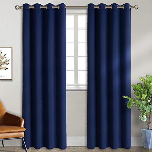 BGment mörkläggningsgardiner för sovrum öljett värmeisolerade rum mörkare gardiner för vardagsrum, 2 gardinpaneler W46 X L90 Marinblått Xsp