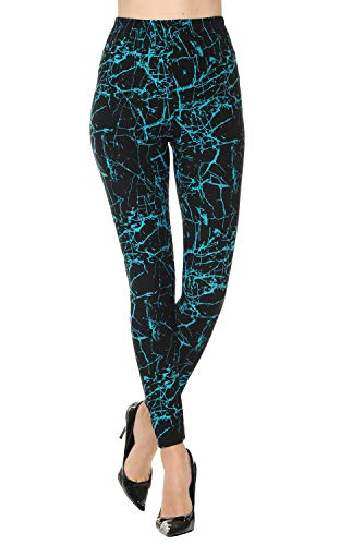 VIV Collection Plus Size Printed Brushed Ultra Soft Leggings (Lightning Blue)