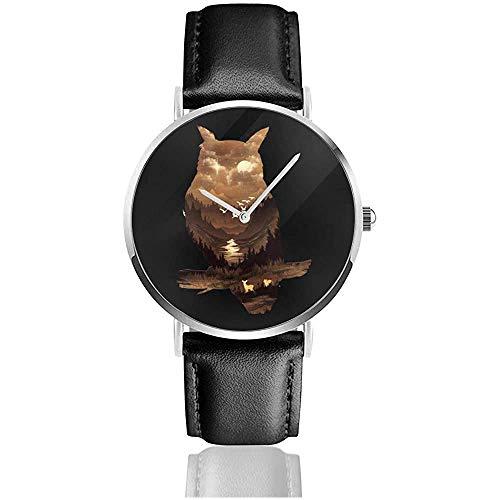 Owl Silhouette Valley Scene Uhren Quarz Lederuhr mit schwarzem Lederband für Sammlung Geschenk