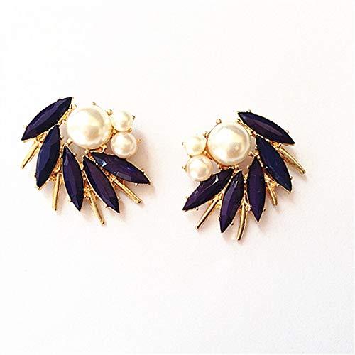 ZNXHNDSH HND 1 par Irregular de joyería Blanco decoración de la Perla de Bronce Antiguo de Spike Pendientes de Moda Mujer (Color : Gold Royal Blue)