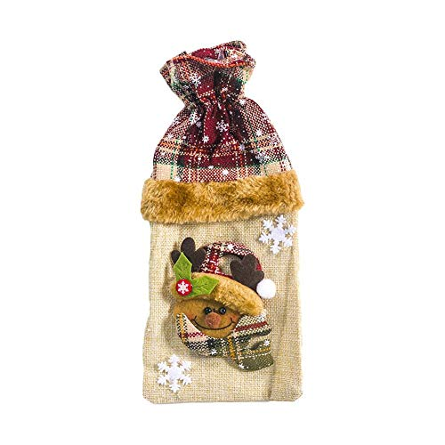 Makluce 1pc Christmas Wine Bottle Cover, wijnfles jurk, cadeauzakje, voor feestjes eettafel kerstfeest decoraties honest helpful