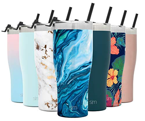 Simple Modern Slim Cruiser Tumbler with Clear Flip Lid and Straw Insulated Travel Mug Stainless Steel Water Bottle, 32 Ounce, Pattern: Ocean Geode