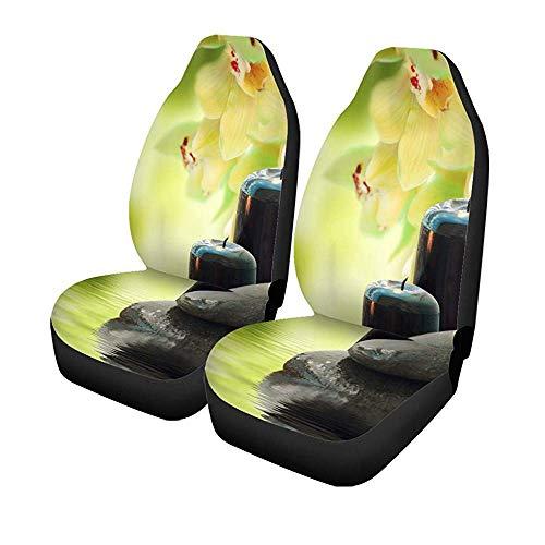 Set van 2 autostoelhoezen aroma meditatie brandende kaars Aziatische bamboe basalt Universal auto voorstoelen protector 14-17IN
