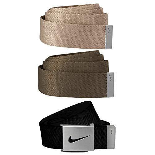 Nike Men's Standard 3 Pack Web Belt, black/cargo khaki/khaki, One Size