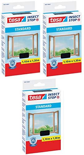 tesa Insect Stop Standard Fliegengitter für Fenster - Insektenschutz zuschneidbar - Mückenschutz ohne Bohren - 3 x Fliegen Netz anthrazit - 110 cmx130 cm