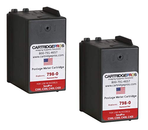 2-Pack Replacement Compatible SL‑798‑0 Ink cartridges for SendPro C200, C300 and C400 Postage Meters. Made in The USA.