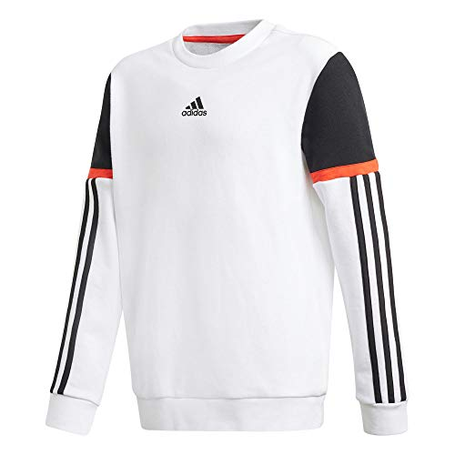 adidas Jungen B Bold Crew Sweatshirt, Weiß/Schwarz, 164 (13/14 años)