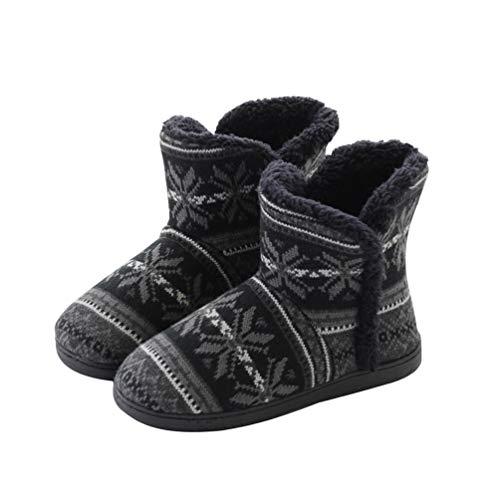 Rojeam Winter Warme Hausschuhe Damen Herren Winterschuhe Gefüttert Pantoffeln Stiefel rutschfest