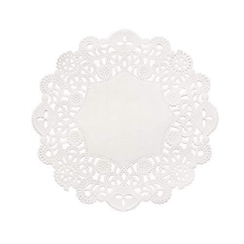 Bestonzon - Mantel de papel de envolver en papel de encaje blanco, absorbente del aceite, desechable y práctico (14 cm, 100 unidades)