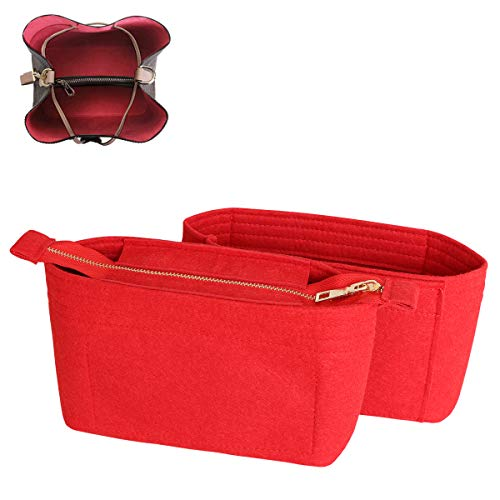 SHINGONE Taschenorganizer Filz Handtaschen Organizer mit Reißverschluss, Innentaschen für Handtaschen Bag Organizer für Damen, Taschenorganizer Rot