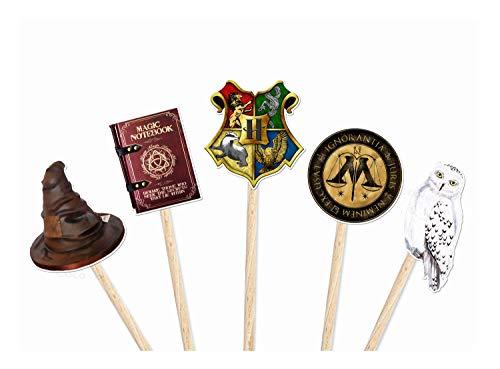 CocoundBo - 10 x Hogwarts Party Cupcake Picks - Harry Potter inspiriert Hogwarts School Party Dekorationen