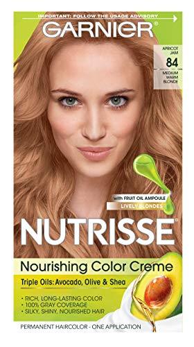 Garnier Hair Color Nutrisse Nourishing Hair Color Creme, Apricot Jam 84, Medium Warm Blonde, 1 Count
