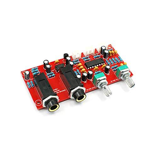 MXECO PT2399 Tablero de amplificador de micrófono digital Placa de karaoke Reverb Preamplificador Reverberador Componentes de la suite NE5532 DC 12V-24V (Multicolor (Piezas + Cable + Perilla + Placa))