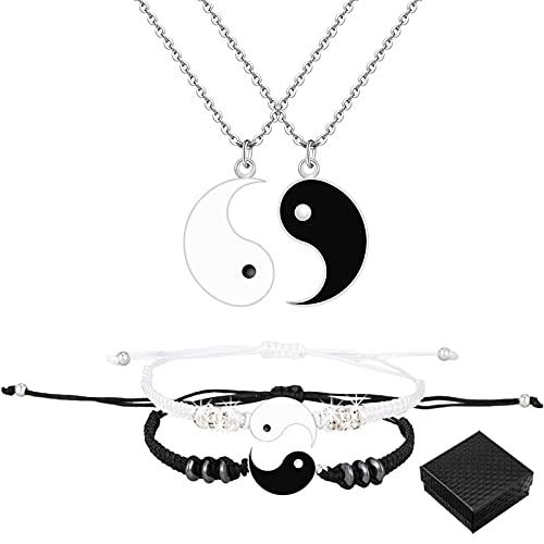 ALTcompluser Matching Yin Yang - Pulsera ajustable para hombre y mujer, con caja de regalo, 16 centimeters, Metal,
