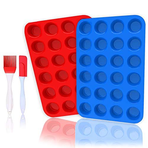 24 moldes de silicona para magdalenas y cupcakes, antiadherentes/lavaplatos, aptos para microondas Red+blue