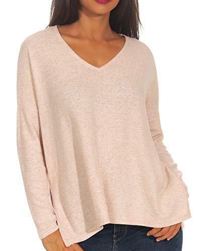 ONLY Damen onlKLEO L/S V-Neck KNT NOOS Pullover, Rosa (Rose Dawn Detail:Melange), 40 (Herstellergröße: L)