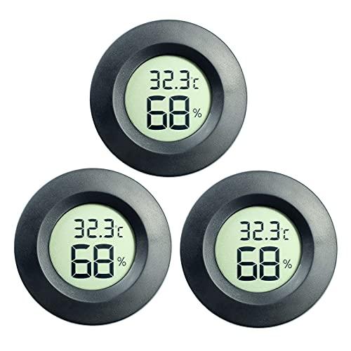 DIFCUL 3pcs   Mini LCD Digitale Termometro Igrometro, Temperatura Umidità Misuratore per chitarra Rettili Serra per auto (3 pezzi Nero)