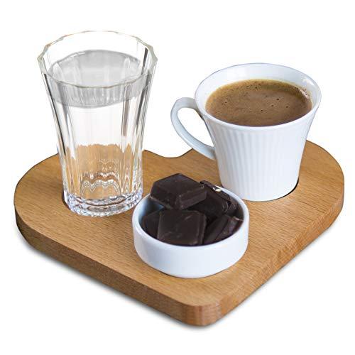 The Mammoth Design Türkischer Kaffee, Espresso Servierset | Bio-Holztablett, Porzellantasse, Wasserglas und Mini-Porzellanschale | Romantische Geschenkidee