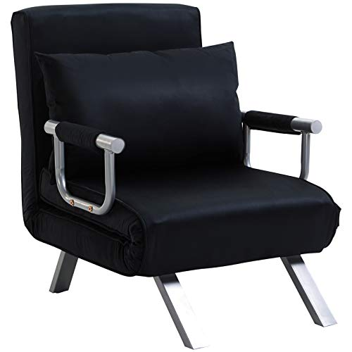 HOMCOM Fauteuil chauffeuse canapé-lit Convertible 1 Place déhoussable Grand Confort Coussin Pieds accoudoirs métal suède Noir