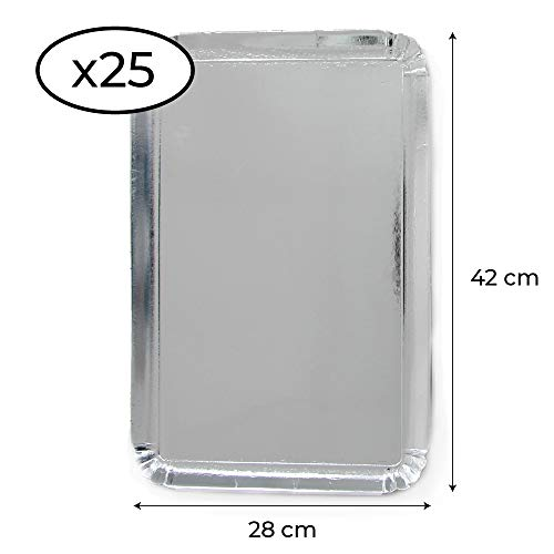 Extiff Lot de 25 Plateaux en Carton argenté 28 x 42 cm - Plateaux de présentation pour patisseries ou Buffet Froid (Argenté)