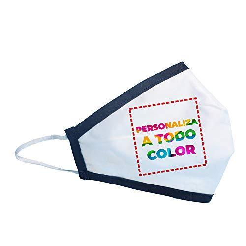 PROMO SHOP Mascarilla Higiénica Reutilizable Personalizada (Logo, Imagen o Diseño) a Una Cara • Lavable en Lavadora • Capa Externa Hidrófuga y Antibacteriana/Interna Poliester Transpirable