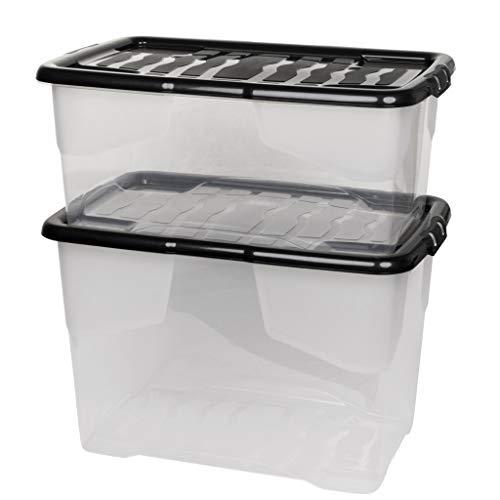 """2 Stück Aufbewahrungsbox \""""Curve\"""" mit Deckel aus transparentem Kunststoff. Nutzvolumen 65 und 42 Liter. Stapelbar, nestbar, einsehbar. Mit Deckel."""