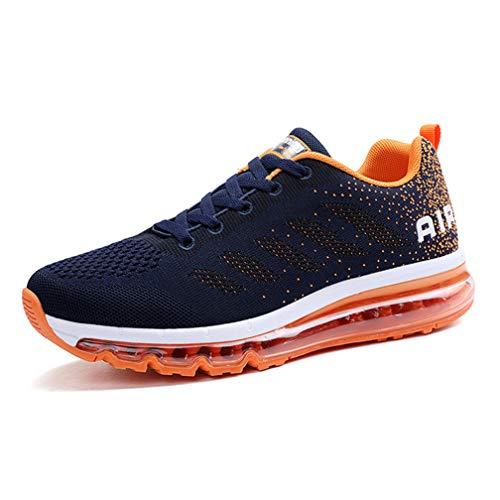 Monrinda Damen Sportschuhe Herren Laufschuhe mit Luftpolster Turnschuhe Sneakers Leichte Sport Schuhe Outdoor Trainers Wblueorange 35