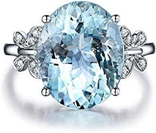 Yuren Fashion Women Rhinestone Butterfly Ring Natural Stone Topaz Ring Crystal Butterfly Engagement Ring Gemstone Sapphire...