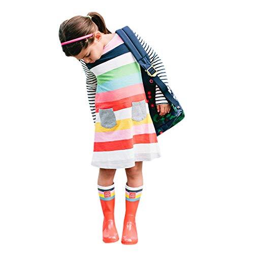 FRAUIT Kleid Mädchen Gestreifte Taschen Prinzessin Kleider Kleinkind Kinder Casual Dress Lange Ärmel Sommerkleider Geblümte A-Linien Freizeit Midi Kleider
