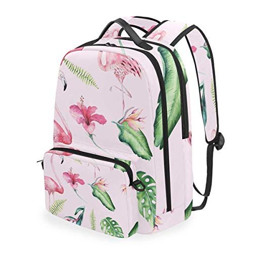 hangong Tropical Isolated Seamless Pattern Flamingo Watercolor,School Backpack with Removable Pencil Case, 2 in 1 Travel Daypack Fits 15 Inch Laptop for Girls or Boys