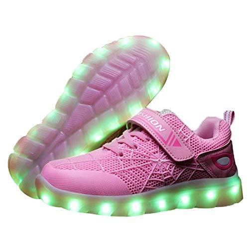 Ragazzi Ragazze Scarpe Sportive LED Con Luci Scarpe 7 Colori Colorati USB Carica Bambini Lampeggiante Luminoso Ginnastica Sneakers Per Natale Regalo Di Compleanno ,Taglia (26-37)Pink-36