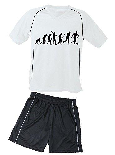 Coole-Fun-T-Shirts Trikotset Fussball Evolution Kinder Trikot + Hose Weiss-schwarz, 146-152