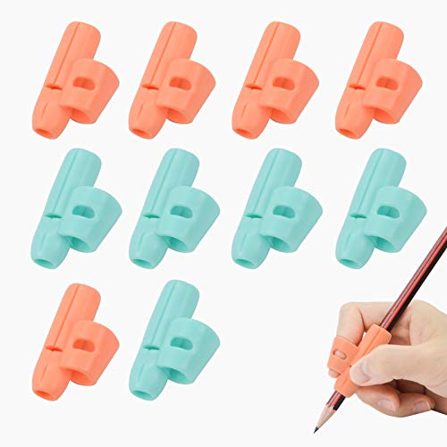 Mlife Pencil Grips - Single Finger Grip Ergonomic Pen Grippers for Children, Finger Holder Tool for Writing Training Aid School Supplies, Pack of 10