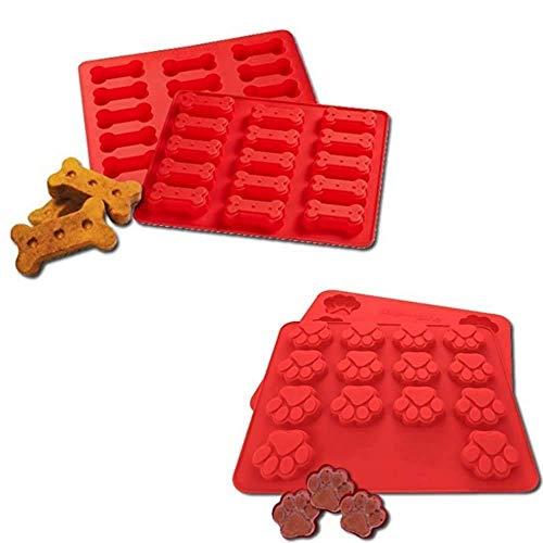 LYXY 15 LOCH Mini Hund Knochen 14 Loch Mini Hund footprintssilicone, zwei Sets zusammen, Cookies Dessert Form Tablett klappbar DIY Kuchenform Backform