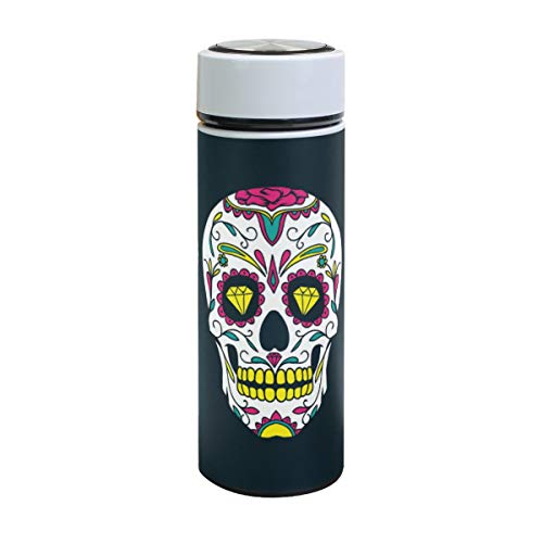 XiangHeFu waterfles drank thermoskan sportreisbeker 17oz Mexicaanse suikerschedel dag van de dode patroon koud of warm lekvrij