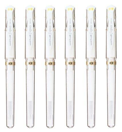 Uni-Ball Signo Broad Point Gel Impact Pen White Ink, 6 pens per Pack (japan import) Komainu-Dou Original Package (2, DESIGN 1)