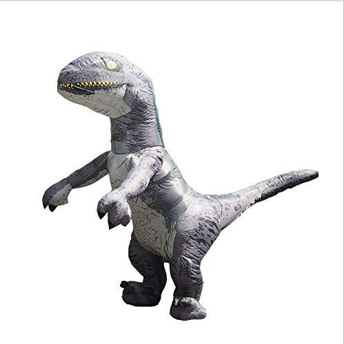 WSSMSY Disfraz Inflable para Adultos, Disfraz de Velociraptor Inflable, Disfraces de Dinosaurio de Halloween, Vestido Elegante, Dinosaurio Cosplay