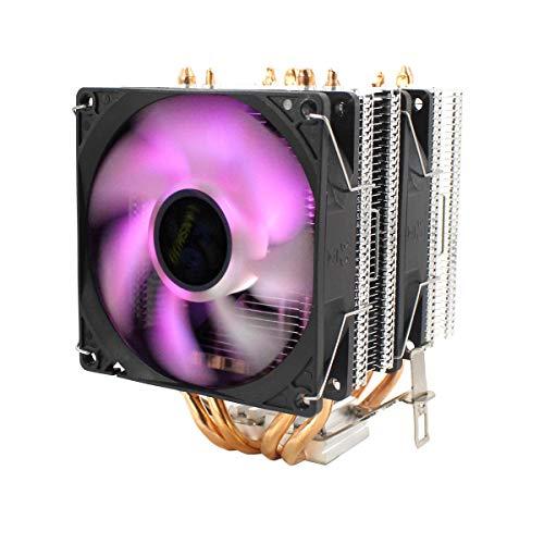Gaopina CPU Silent Dual Fan 4 Tubo de Calor 3 Alambre Control de Temperatura Inteligente de 3 Cables CPU Refrigerador de refrigeración Ventilador Compatible with Intel 775/1150/1151/115 U8Z6