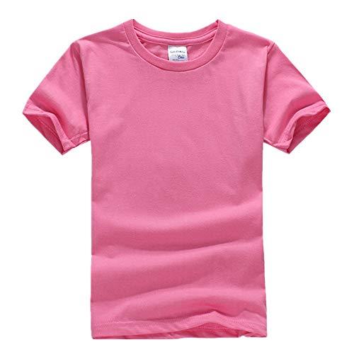 DREAMING-Camiseta De Manga Corta De Algodón Peinado para Niños Camiseta De Cuello Redondo Juvenil Ropa para Niños 71C Rhododendron Color 130CM