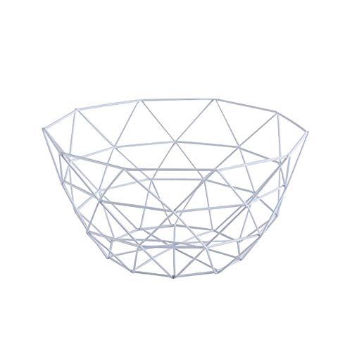 Tommy Lambert Obstschale, nordischer einfacher Stil, Metalldraht, geometrischer Obstkorb, Halterung für Zuhause, Küche, Wohnzimmer, Esstisch, Obst, Display, weiß, Large