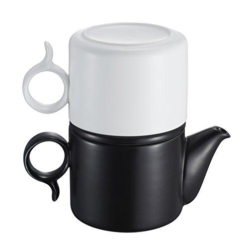 ZENS à thé en Porcelaine pour Une Personne empilable Théière et Tasse de thé kit de Service de 250 ML – Noir et Blanc