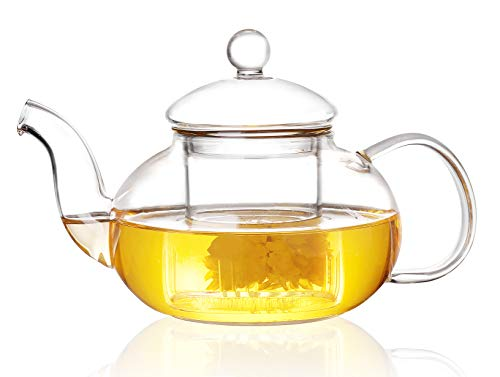 Jusalpha Heat Resistance Glass Teapot with Infuser,Teapot with Strainer for Loose Tea (800ml/27 oz)
