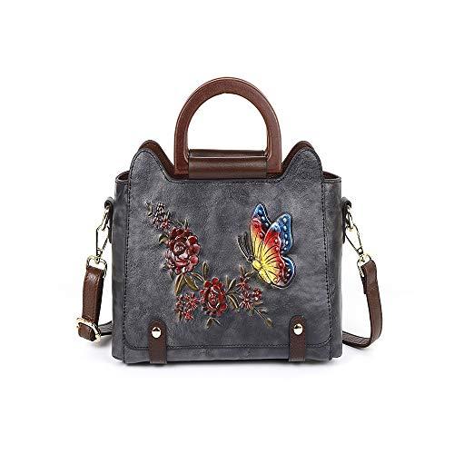 Dames business-serie, wafelpatroon, vlinder, bloem van de liefde, diagonaal, tas, tas, voor de eerste keer luier, rugzak gemaakt van leer (kleur: grijs)